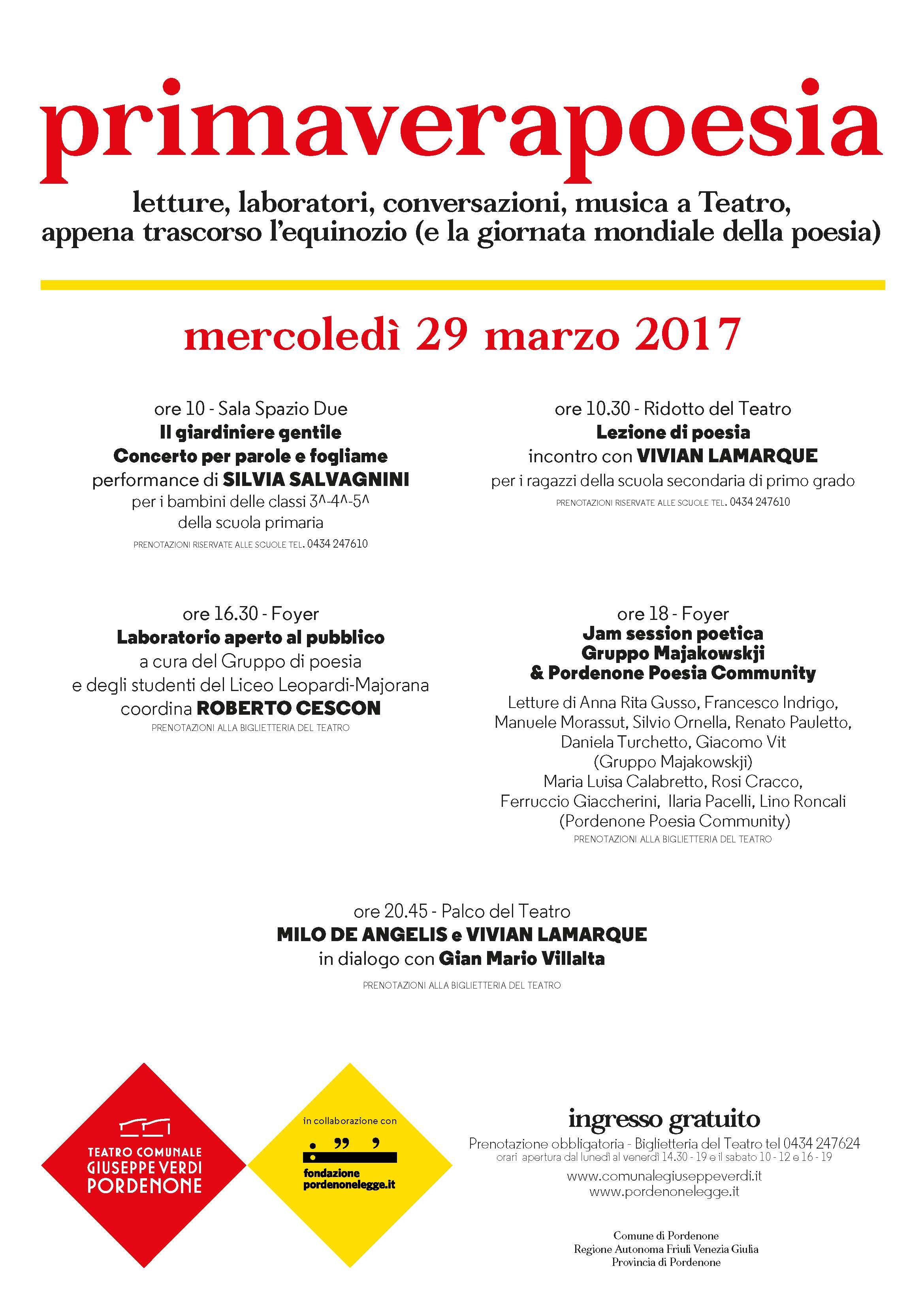 Il gruppo poesia del Leomajor a Primaverapoesia al Verdi mercoledì 29 marzo alle 16.30